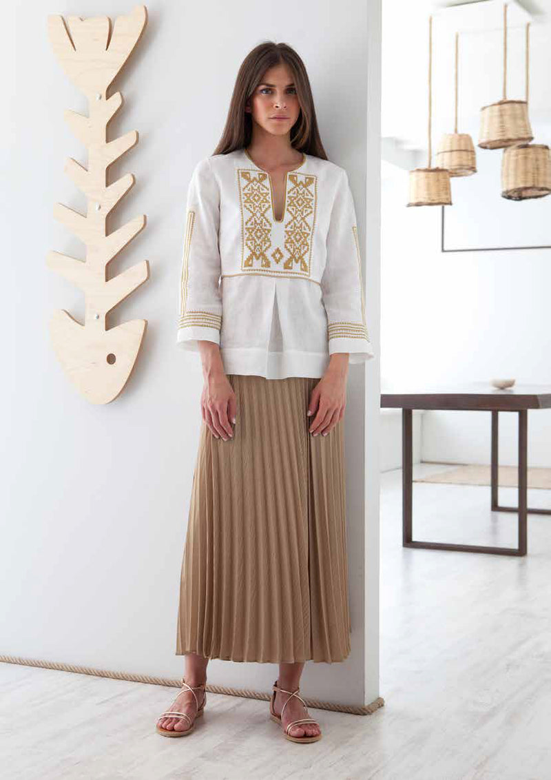 IRO EMBROIDERED WHITE GOLD BLOUSE - JUSTBRAZIL