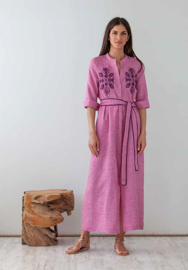 DAREIA EMBROIDERED BURGUNDY LONG SHIRTDRESS - JUSTBRAZIL