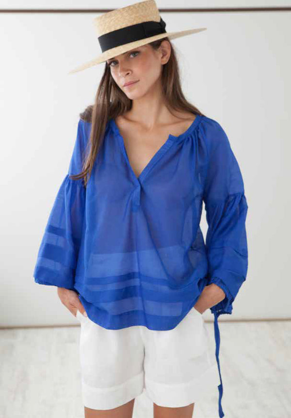 MYKONOS GREEK BLUE BLOUSE - JUSTBRAZIL