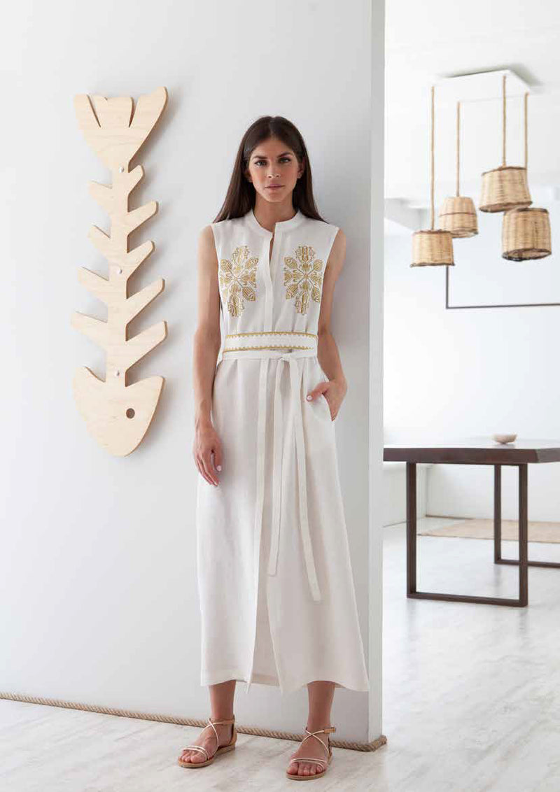 DAREIA SLEEVELESS OFF WHITE/GOLD SHIRTDRESS - JUSTBRAZIL