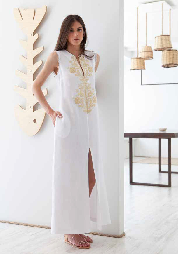 ASTYPALAIA WHITE/GOLD SLEEVELESS LONG KAFTAN - JUSTBRAZIL