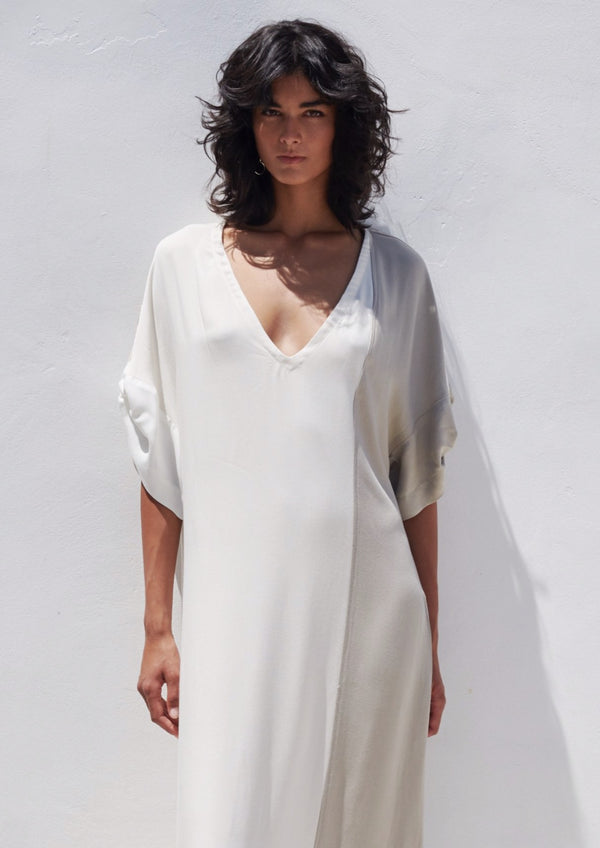 MATALA WHITE LONG V-NECK DRESS - JUSTBRAZIL