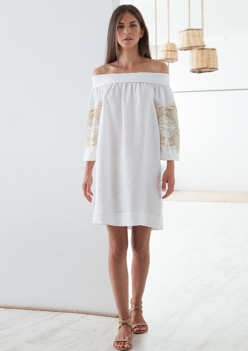 PENELOPE WHITE/GOLD OFF-SHOULDER SHORT DRESS - JUSTBRAZIL