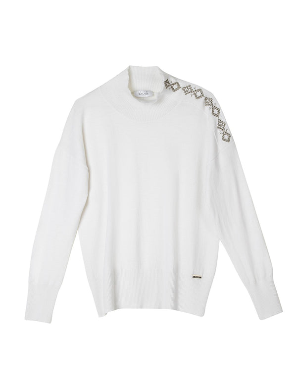 PINDOS WHITE EMBROIDERED SWEATER - JUSTBRAZIL