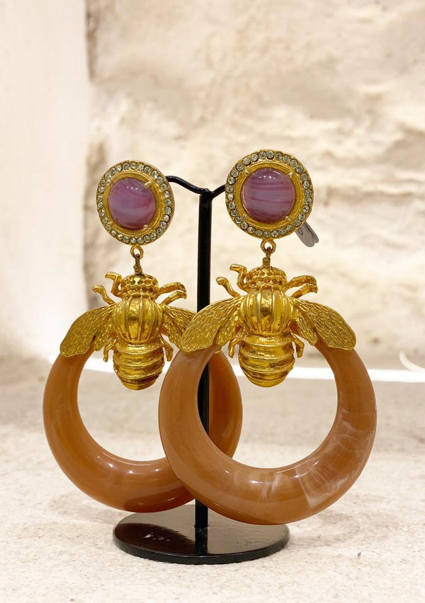 GINA VIOLET ROSETTES AND BROWN HOOPS - JUSTBRAZIL