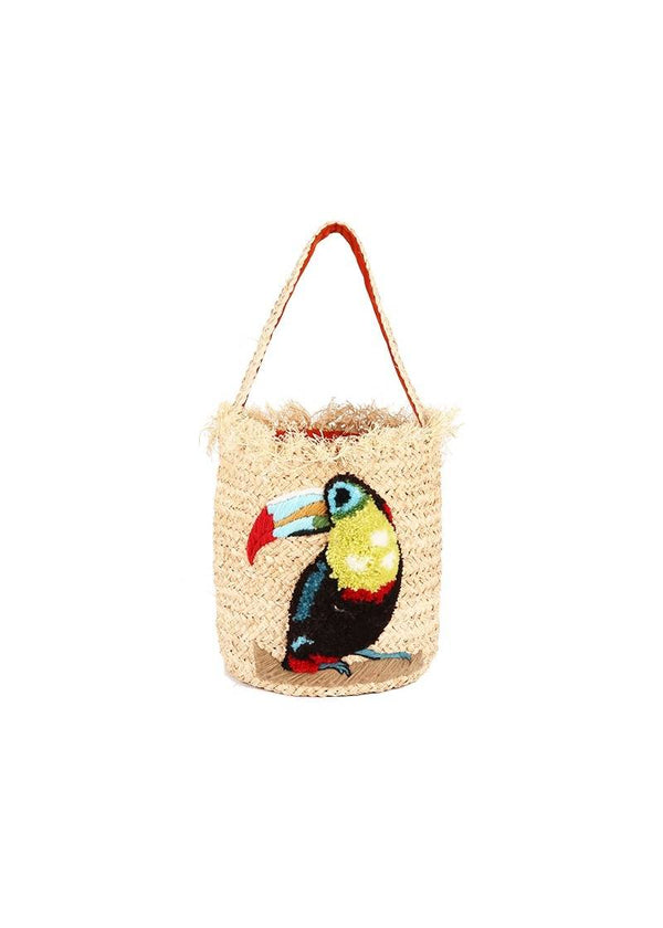 RAFFIA TOUCAN NATURAL BASKET - JUSTBRAZIL
