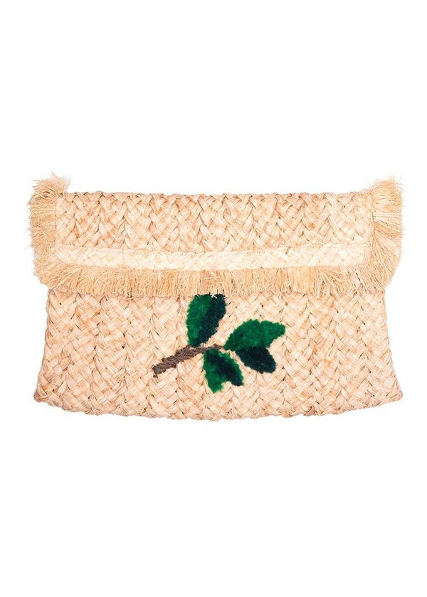 RAFFIA NATURAL LEAF CLUTCH - JUSTBRAZIL