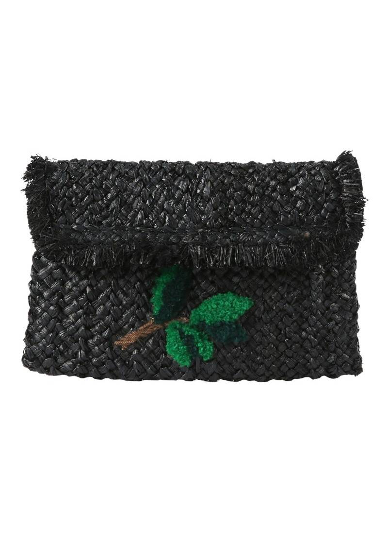 RAFFIA BLACK LEAF CLUTCH - JUSTBRAZIL