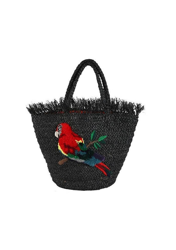 RAFFIA PARROT LARGE BLACK BAG - JUSTBRAZIL