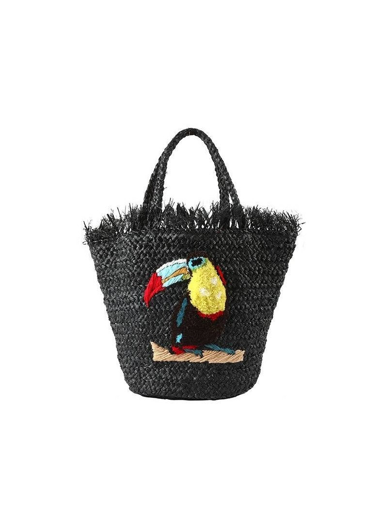 RAFFIA TOUCAN LARGE BLACK BAG - JUSTBRAZIL