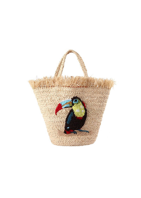 RAFFIA TOUCAN LARGE NATURAL BAG - JUSTBRAZIL