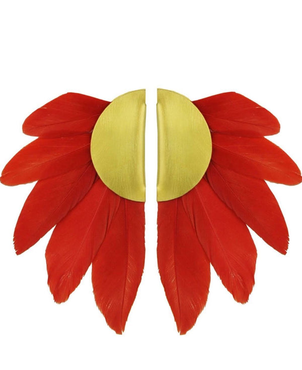 ARTEMIS RED CLIP ON FEATHER EARRINGS - JUSTBRAZIL