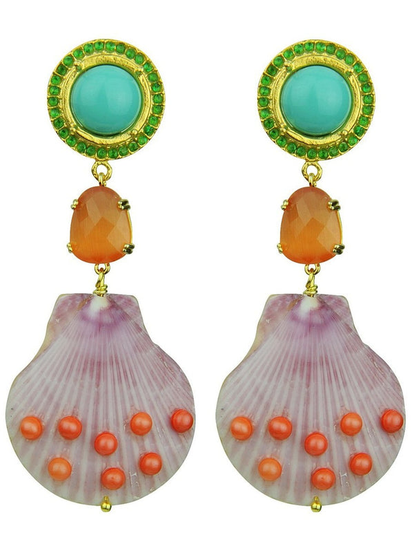 CLAUDIA SHELL EARRINGS - JUSTBRAZIL