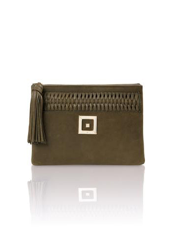 INFINITY LEATHER KHAKI CLUTCH - JUSTBRAZIL