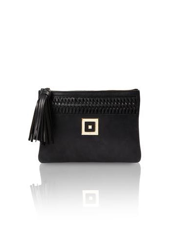 INFINITY SUEDE BLACK CLUTCH