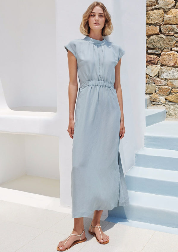 VAI LIGHT BLUE LONG LINEN DRESS - JUSTBRAZIL