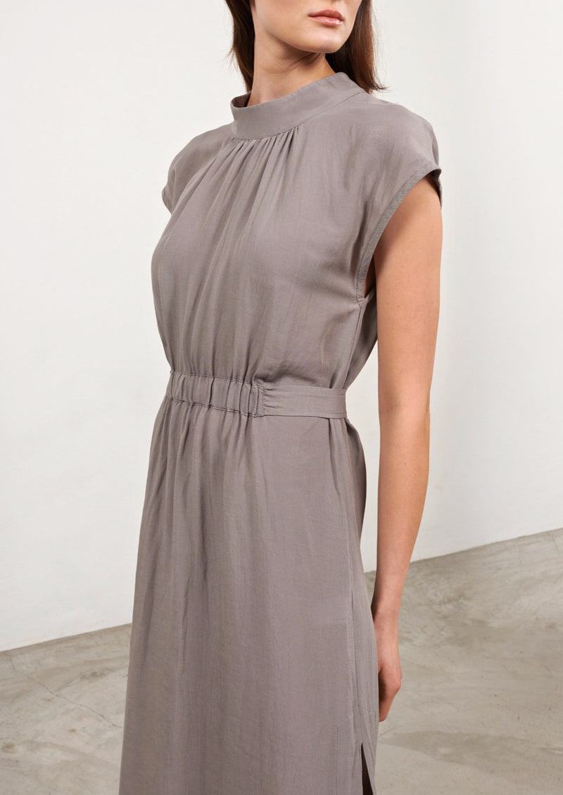 VAI GREY LONG LINEN DRESS - JUSTBRAZIL