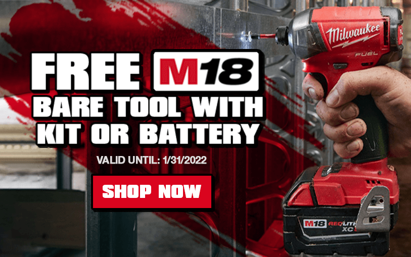 FREE Milwaukee M18 Bare Tool With Kit or Battery