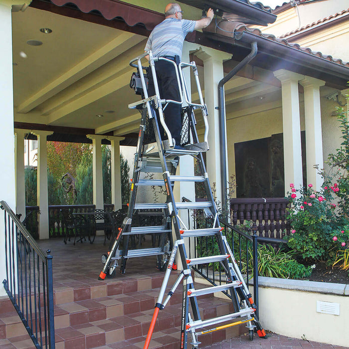 Little Giant 18503-817 3 to 5-Foot Fiberglass Safety Cage Platform Ladder