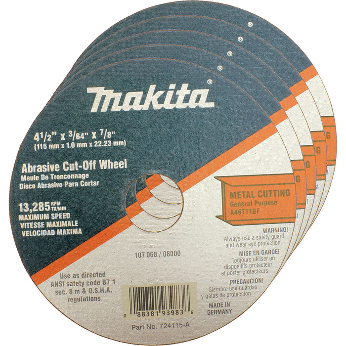 "Makita 724115-A-25 4-1/2"" x 7/8"" x 3/64"" Super Thin Metal Cut-Off Wheel - 25 pk"