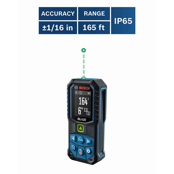 Bosch GLM165-25G 165' BLAZE Ergonomic Cordless Green Digital Laser Measure