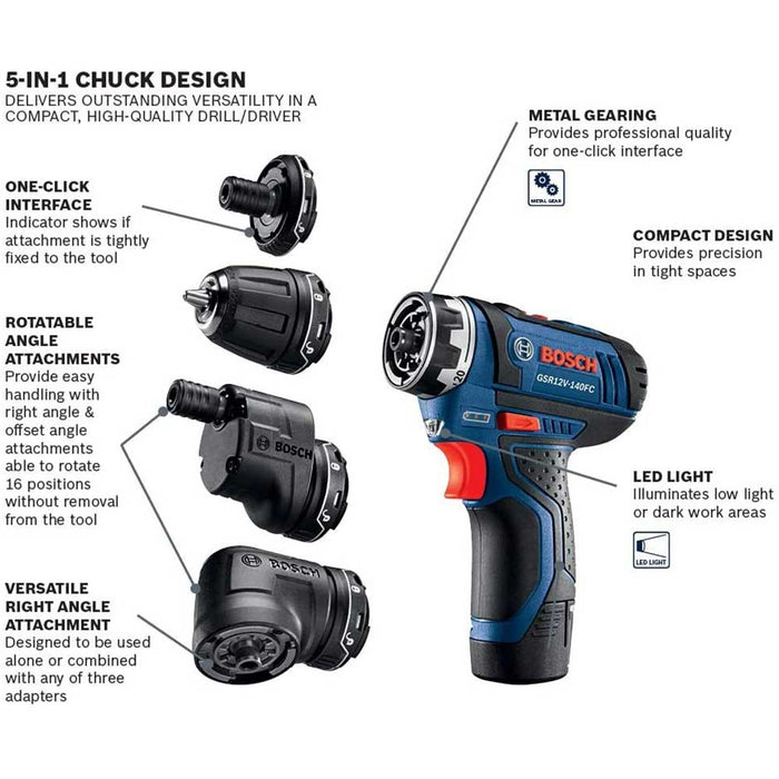 Bosch GSR12V-140FCB22 12V Max Flexiclick 5-in-1 Drill/Driver Set - Reconditioned
