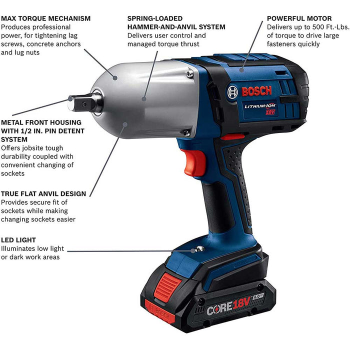 Bosch HTH181-B25 18V High Torque Impact Wrench Kit w/ Compact Batteries