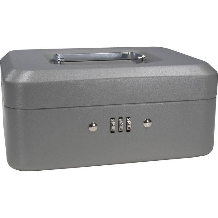 Barska CB11784 8 Inch Small Safe Steel Cash Box w/ Combination Lock in Grey
