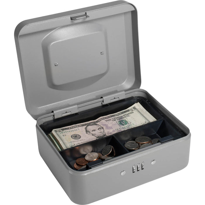 Barska 8 Inch Small Safe Steel Cash Box w/ Combination Lock in Grey - CB11784