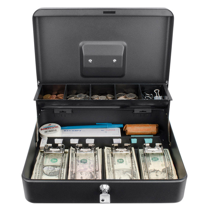 "Barska CB13054 12"" Standard Solid Steel Register Style Cash Box w/ Key Lock"