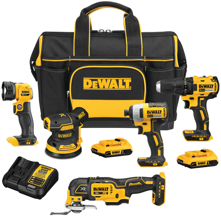 DeWALT DCKSS521D2 20V MAX Cordless 5 Tool Combo Kit w/ Contractor Bag