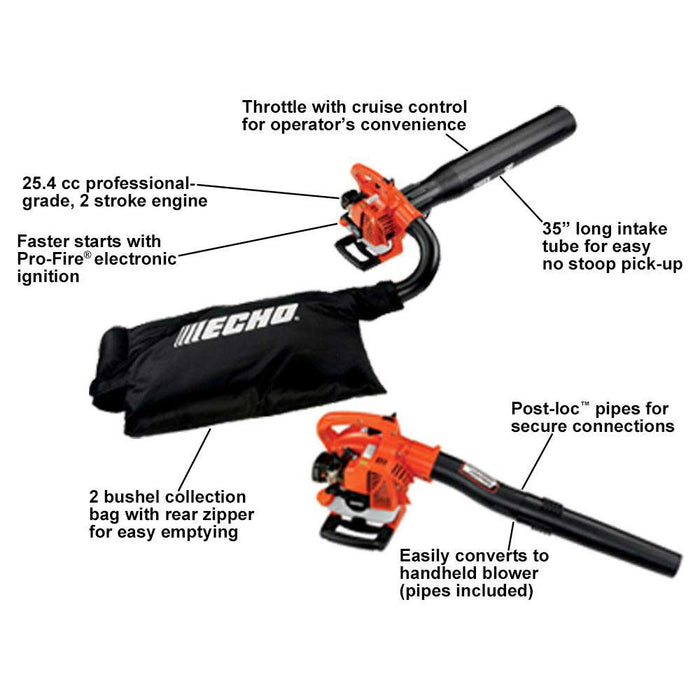 Echo ES-250AA 25.4cc 391 CFM 2 Stroke Heavy Duty Gas Vacuum Leaf Blower/Shredder