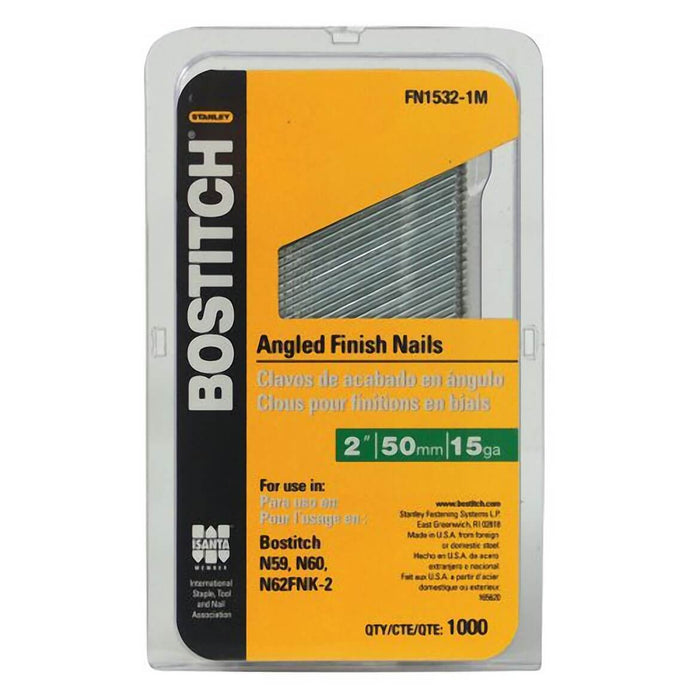 "Bostitch FN1532-1M 2"" 15-Gauge FN Style Angled Finish Nails, (1,000-Pack)"