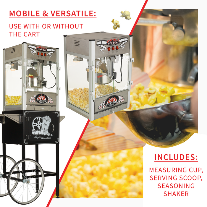 FunTime FT1665PP Palace Popper 16 OZ Commercial Bar Popcorn Popper Machine Cart