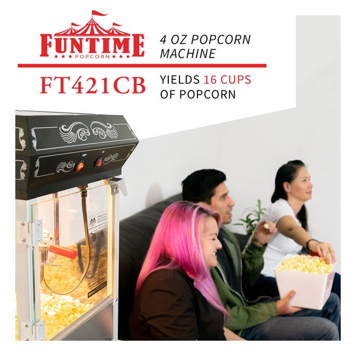FunTime FT421CB 4oz Black Bar Table Top Popcorn Popper Maker Machine