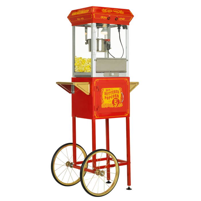 FunTime FT454CR 4oz Red Popcorn Popper Machine Maker Cart Vintage Style