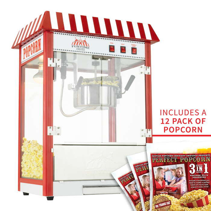 FunTime FT8000CP 8 OZ Commercial Carnival Bar Style Popcorn Popper Machine