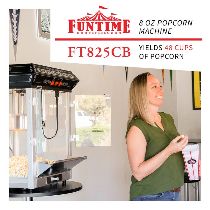FunTime FT825CB 8oz Black Bar Table Top Popcorn Popper Maker Machine