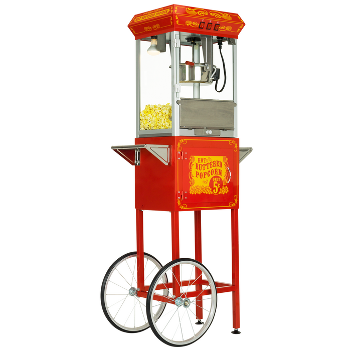 FunTime FT862CRS 8oz Red Popcorn Popper Machine Maker Cart Vintage Style