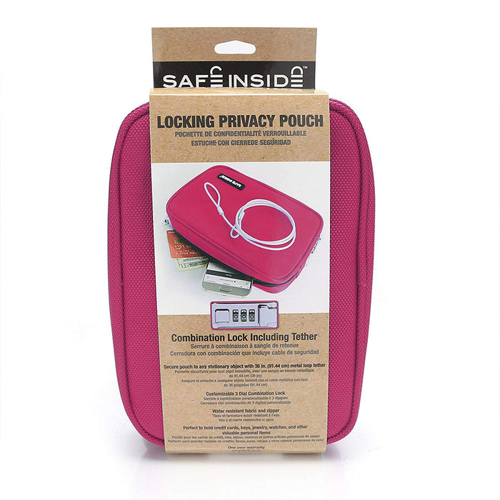 Honeywell 6557P Safe Inside Locking Privacy Pouch with Steel Tether Cable, Pink