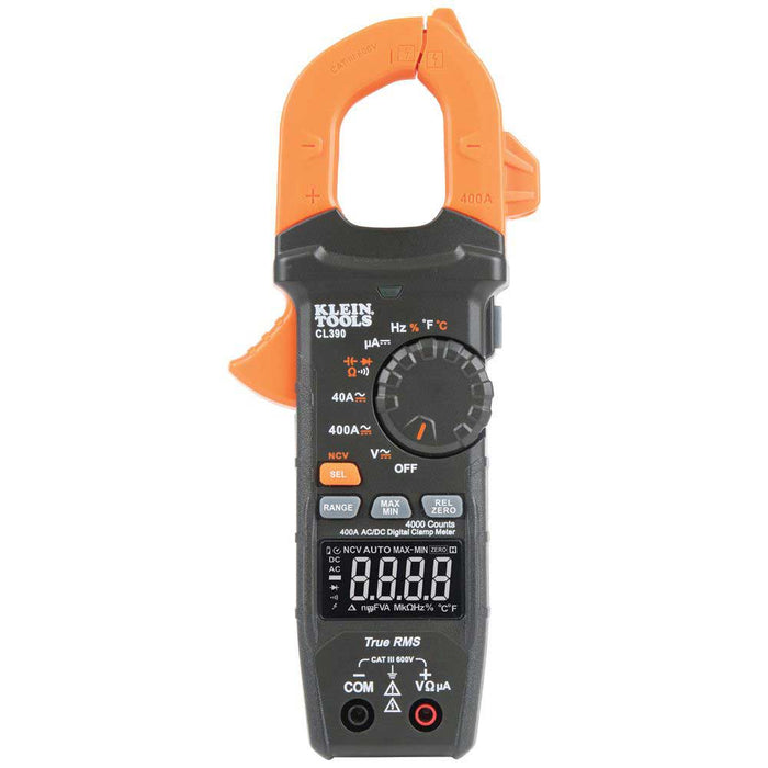 Klein CL390 AC/DC High Visibility Digital Clamp Meter Auto-Ranging 400 Amp