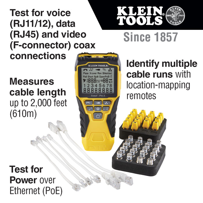 Klein VDV501-852 Scout Pro 3 Cable Power Testing Kit w/ Locator Remote
