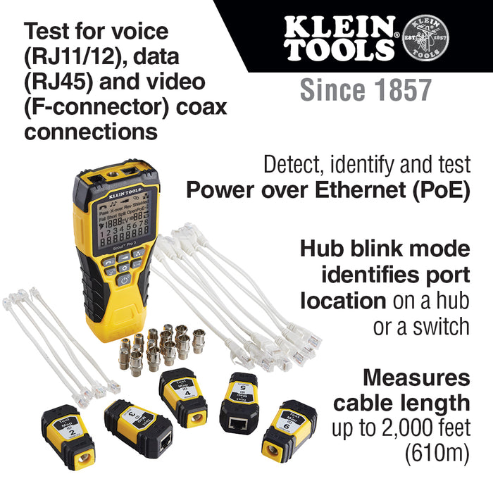Klein VDV501-853 Scout Pro 3 Cable Power Tester with Test/Map Remote Kit