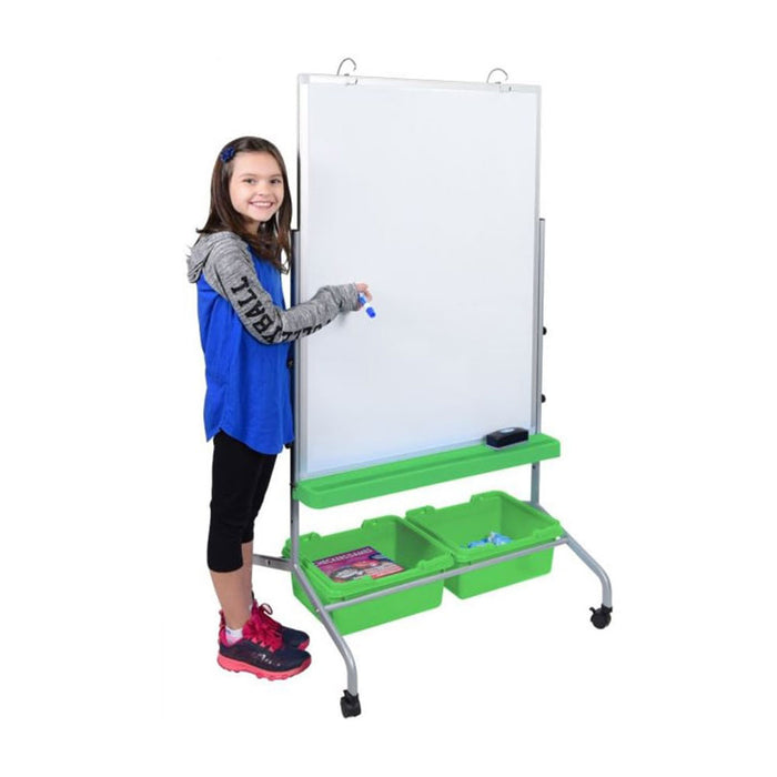 Luxor MB3040WBIN Two-Sided Magnetic Classroom Chart Stand w/ Storage Bins