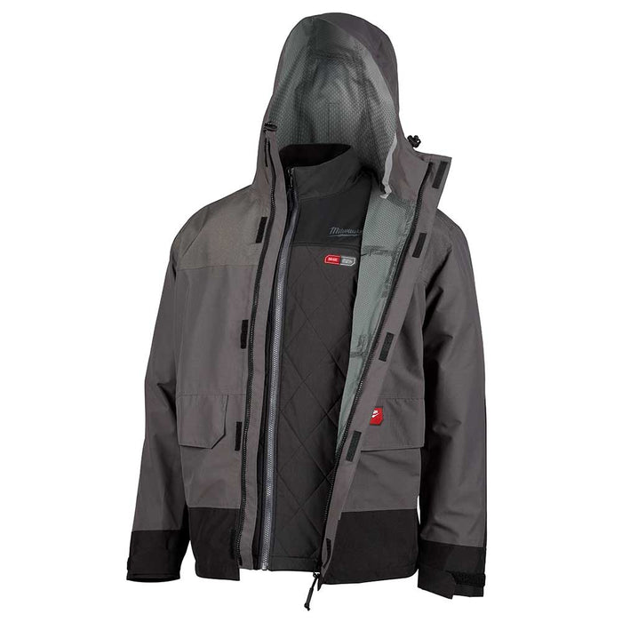 Milwaukee 203RN-21L M12 3 in 1 Large Heated Axis Gray Jacket Kit w/ Rainshell