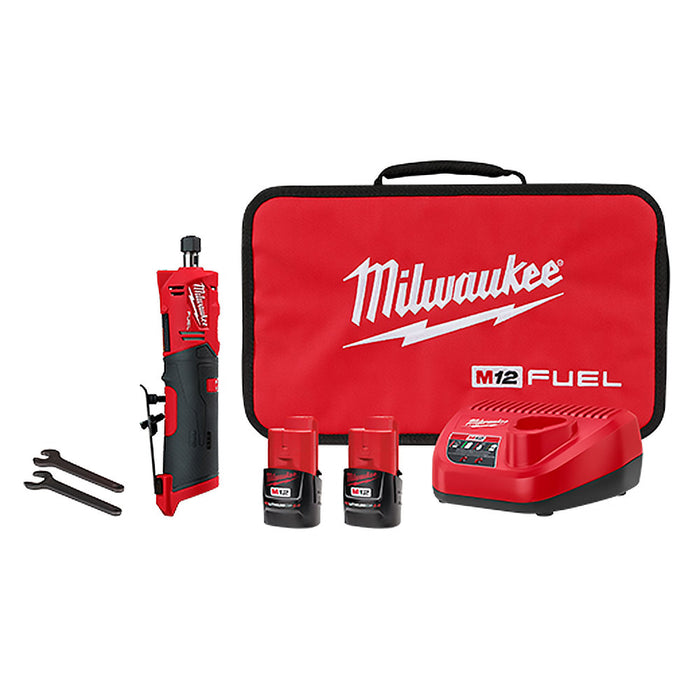 "Milwaukee 2486-22 1/4"" M12 Cordless Brushless Straight Die Grinder Battery Kit"
