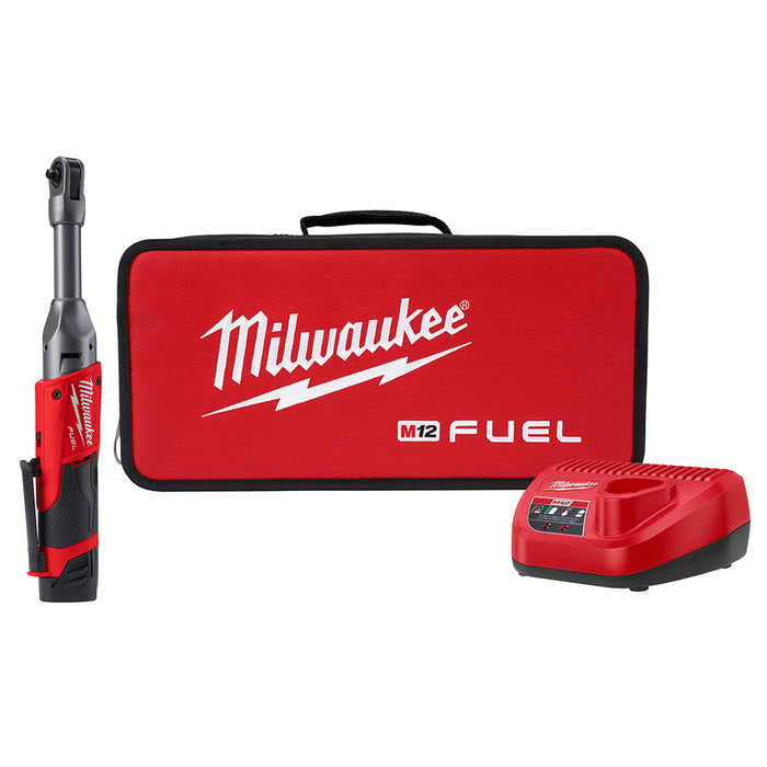 Milwaukee 2559-21 M12 FUEL 1/4 Inch Extended Reach Ratchet 2.0 AH Kit
