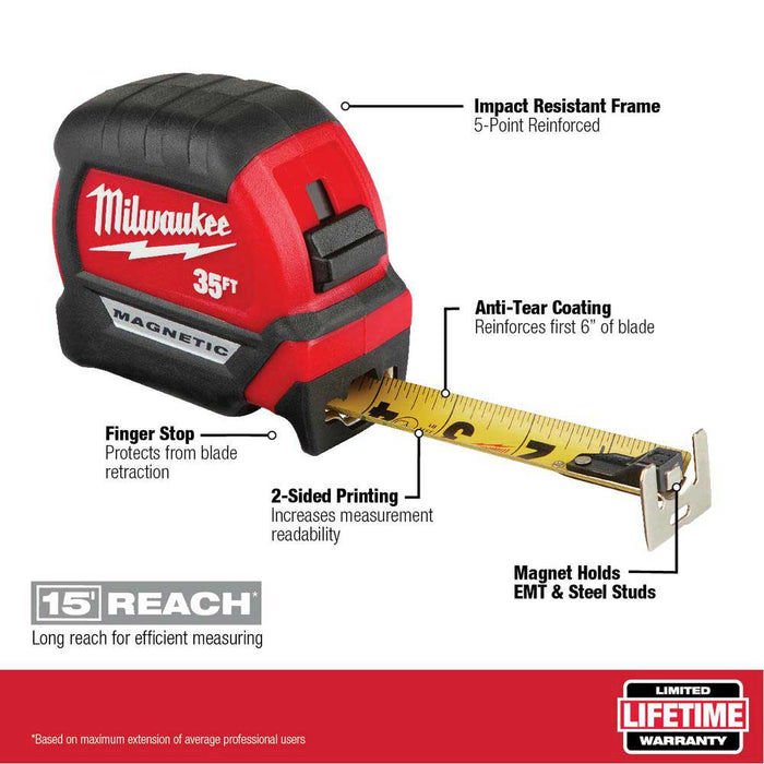 Milwaukee 48-22-0335 35' Compact Wide Blade Anti-Tear Megnetic Tape Measure