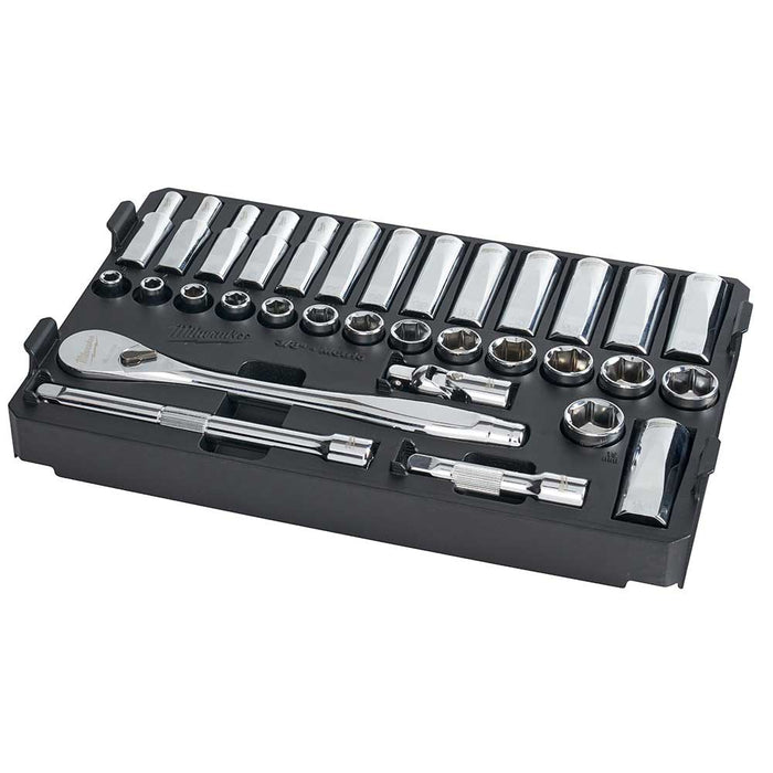 "Milwaukee 48-22-9482 3/8"" Ratchet Metric Socket Set w/ PACKOUT Case - 32pc"