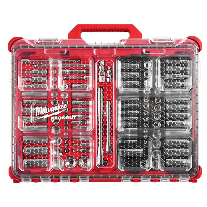 "Milwaukee 48-22-9486 1/4""-3/8"" Ratchet Socket Set w/ PACKOUT Case - 106pc"